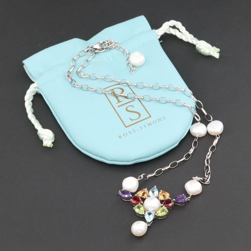 Ross-Simons Sterling Silver Cultured Pearl and Gemstone Necklace