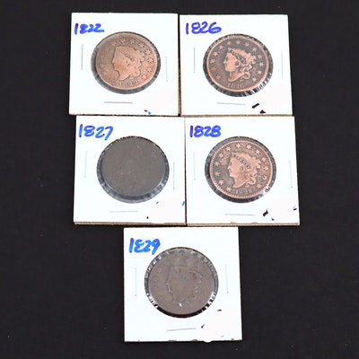 Five Various U.S. Large Cents Including an 1826 and 1829