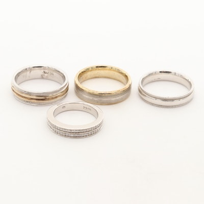 Collection of Sterling Silver Bands with Cubic Zirconia