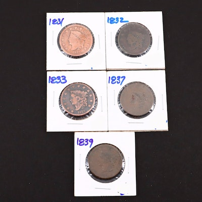 Five Various U.S. Large Cents Including 1837 and 1839