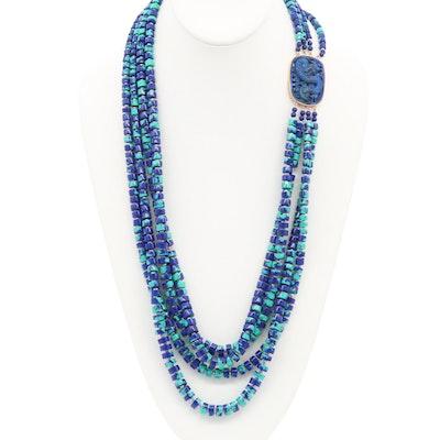 14K Yellow Gold Lapis Lazuli and Azurmalachite Beaded Dragon Necklace