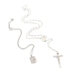 Sterling Silver Catholic Rosary & Jesus, Mary, Joseph and Holy Spirit Medal
