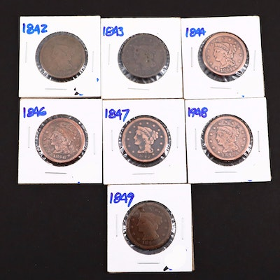 Seven Various U.S. Large Cents Including 1844 and 1849