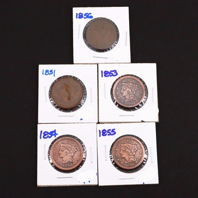 Five Various U.S. Large Cents Including an 1855 and 1856