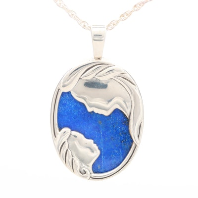 Kabana Sterling Silver Lapis Lazuli Mother and Daughter Pendant Necklace