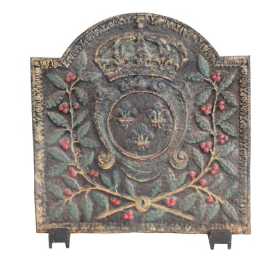 Crown and Floral Polychrome Cast Iron Fireplace Cover with Cast Iron Feet