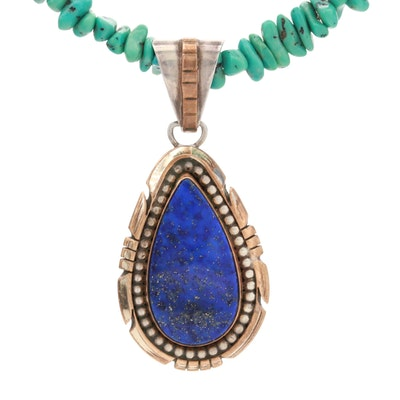 Sterling Silver Lapis Lazuli and Turquoise Necklace with Gold Filled Accents