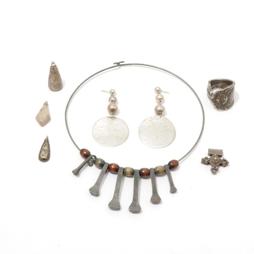 Silver Tone Retro Jewelry with Fossilized Coral Pendants