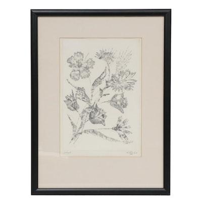 """1986 Floral Lithograph """"Virágok"""""""