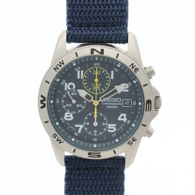 Seiko Stainless Steel Chronograph 100M Wristwatch With Date
