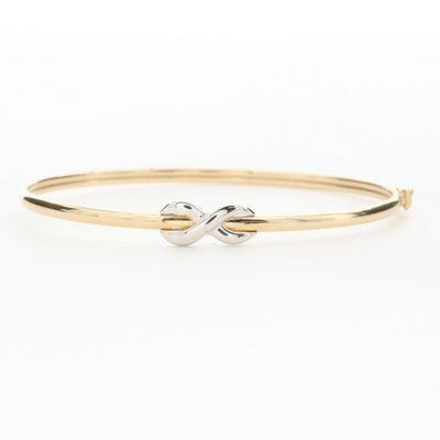 "14K Yellow Gold ""X"" Bangle Bracelet with White Gold Accent"
