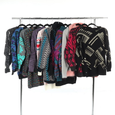 Women's 1980s Knit Sweaters Featuring Carriage Court