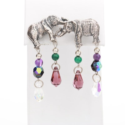Kabana Sterling Silver Malachite and Amethyst Elephant Earrings