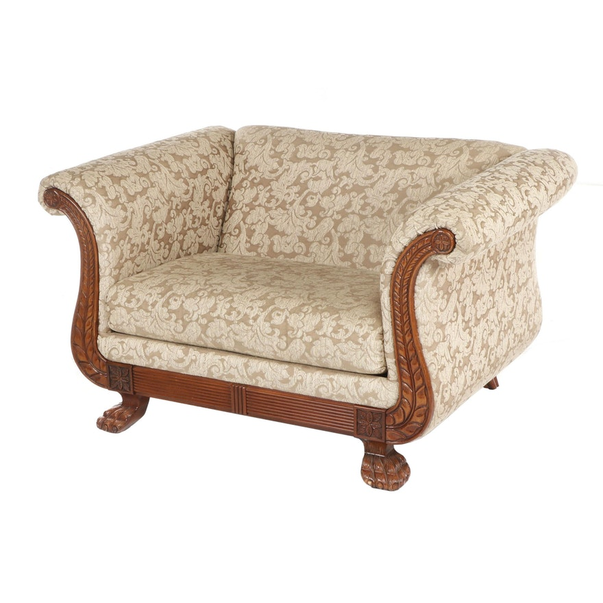 Bench Craft Duncan Phyfe Style Damask Upholstered Armchair, Late 20th Century