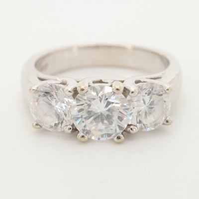 10K White Gold Cubic Zirconia Ring