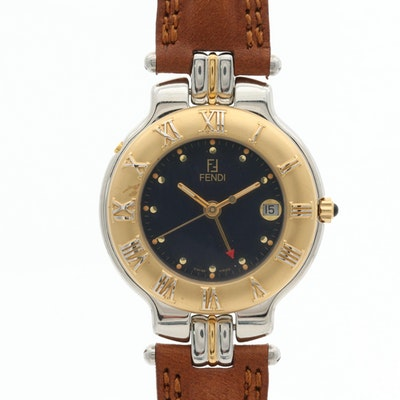 Fendi GMT Two Tone Stainless Steel Wristwatch With Date