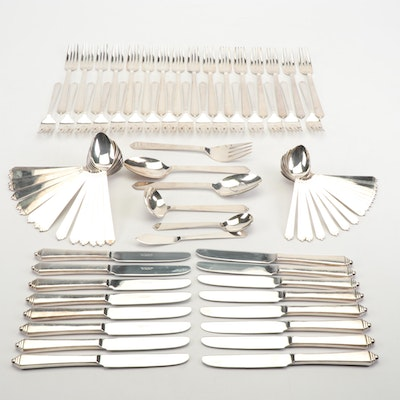 The Main Course Art Deco Style Stainless Flatware, Late 20th Century