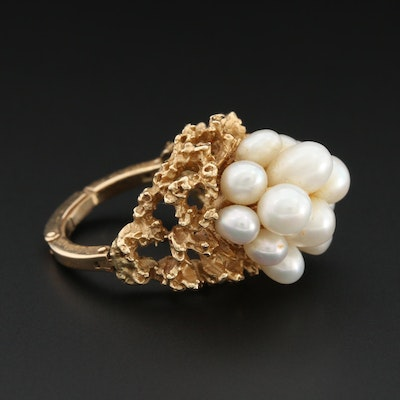 Vintage 14K Yellow Gold Cultured Pearl Cluster Ring with Arthritic Shank