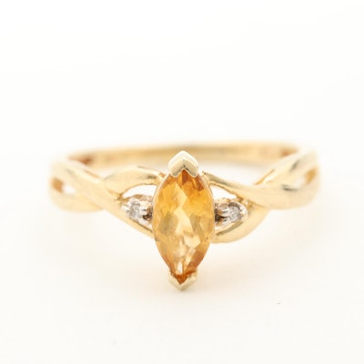 10K Yellow Gold Citrine and Diamond Ring