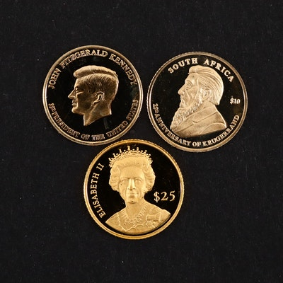 Group of Three Mini Gold Coins