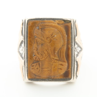Vintage Sterling Silver Carved Tiger's Eye Cameo Ring with Roman Soldier Motif