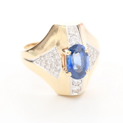 14K Yellow Gold 1.38 CT Blue Sapphire and Diamond Ring
