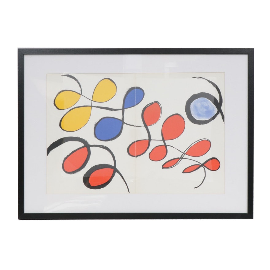 "Alexander Calder Double-Page Color Lithograph for ""Derrière le Miroir"""