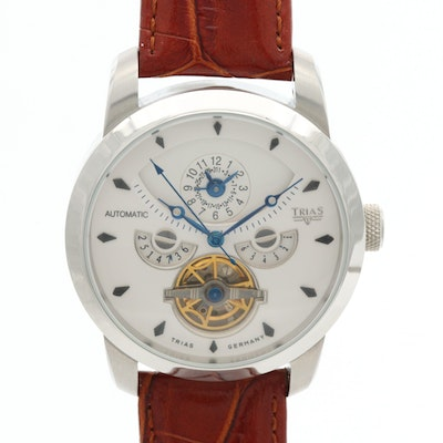 Trias Stainless Steel Automatic Wristwatch With Dual Time Zones