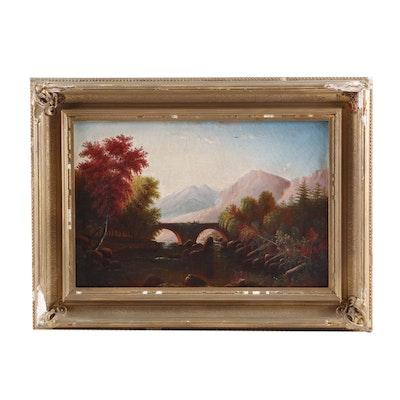 19th Century Autumn Landscape Oil Painting