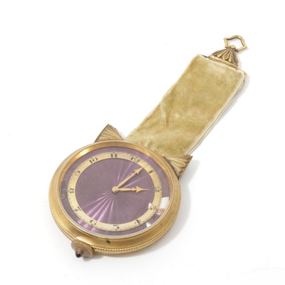 French Guilloche and Chased Brass Women's Watch on Velvet Band
