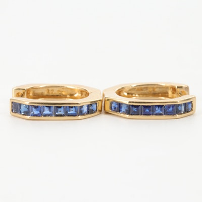 18K Yellow Gold Blue Sapphire Huggie Hoop Earrings