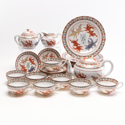 Chinese Hand-Painted Porcelain Tea Set with Luncheon Plates, Mid-Century