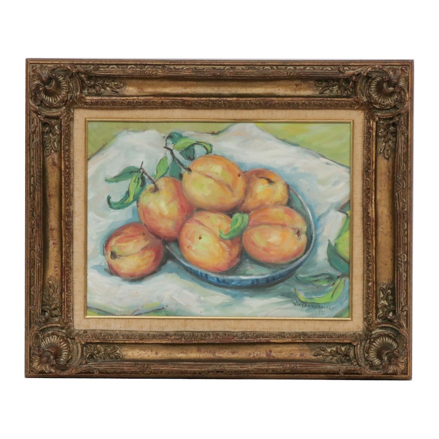 Mary Flourney Passailaigue Still Life of Peaches Oil Painting