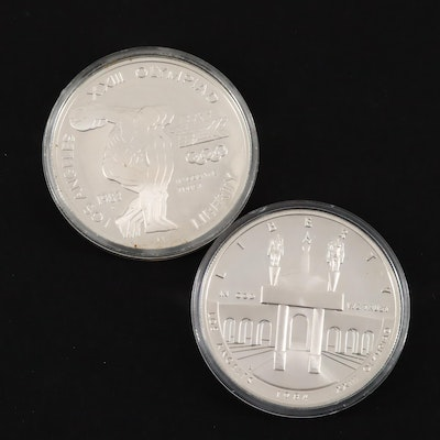 Two Los Angeles Olympics Silver Proof Dollars