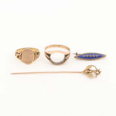 Vintage 10K Yellow Gold Mount and Personalized Rings and Pins