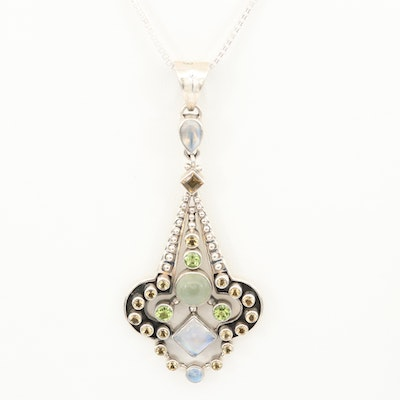 Sterling Silver Rainbow Moonstone, Peridot and Prehnite Pendant Necklace
