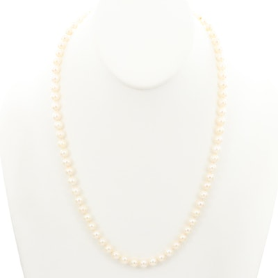 Hand Knotted Strand of Cultured Pearls with 14K Yellow Gold Hook