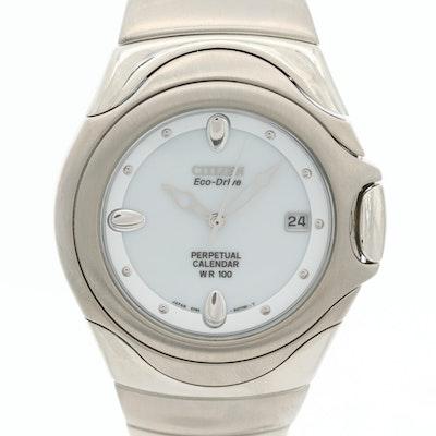 Citizen Eco-Drive Perpetual Calendar Stainless Steel Wristwatch
