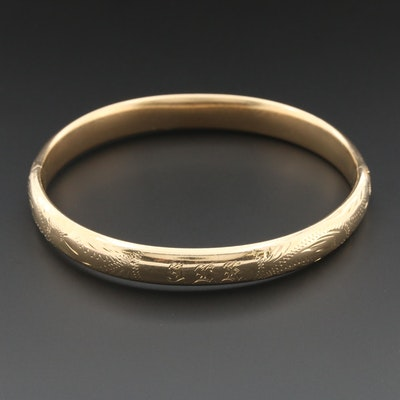Circa 1960s 14K Yellow Gold Hinged Bangle Bracelet