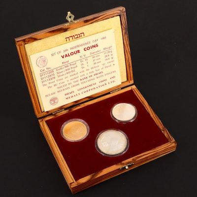 1983 Israel Three-Coin Commemorative Valour Coins Set