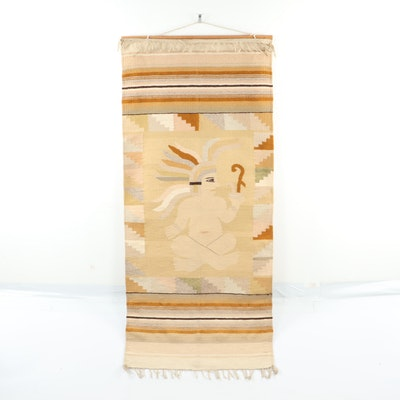 Pictorial Flat-Weave Wool Rug with Wall Mount, Late 20th Century
