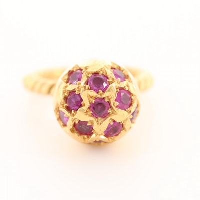 18K Yellow Gold Star Set Ruby Spherical Ring