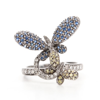 18K White Gold Diamond and Sapphire Butterfly Ring