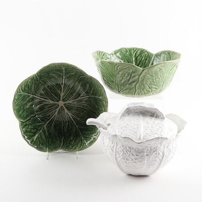 Bordallo Pinheiro White Cabbage Leaf Soup Tureen and Green Cabbage Leaf Bowls