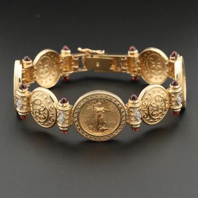 14K Diamond and Garnet Bracelet with Gold Eagle Bullion Coins