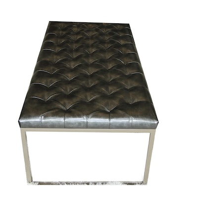 Contemporary Metal Bench with Faux Leather Upholstery
