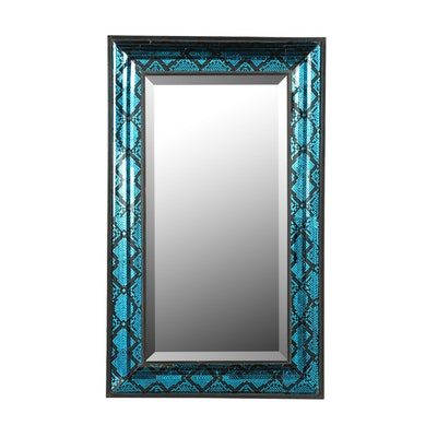 Contemporary Wall Mirror with Painted Snakeskin Motif Frame