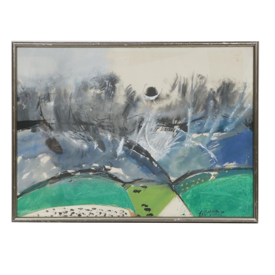 """1956 Abstract Landscape Gouache Painting """"Untitled"""""""
