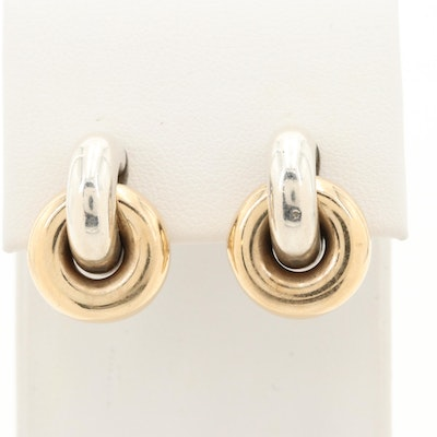 James Avery Sterling Silver with 14K Yellow Gold Hoop Accents Earrings