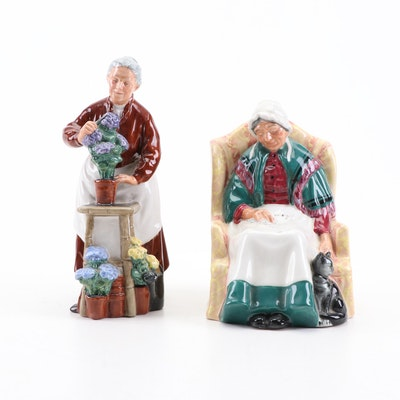 """Royal Doulton """"Flora"""" and """"Forty Winks"""" Porcelain Figurines"""